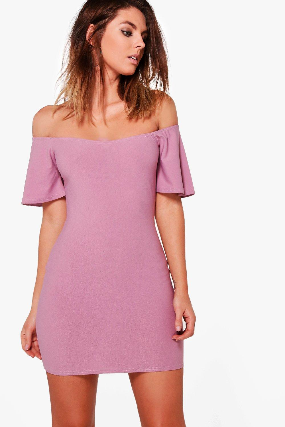 ada1de687d8e Womens Lilas Off Shoulder Frill Bodycon Dress. Hover to zoom