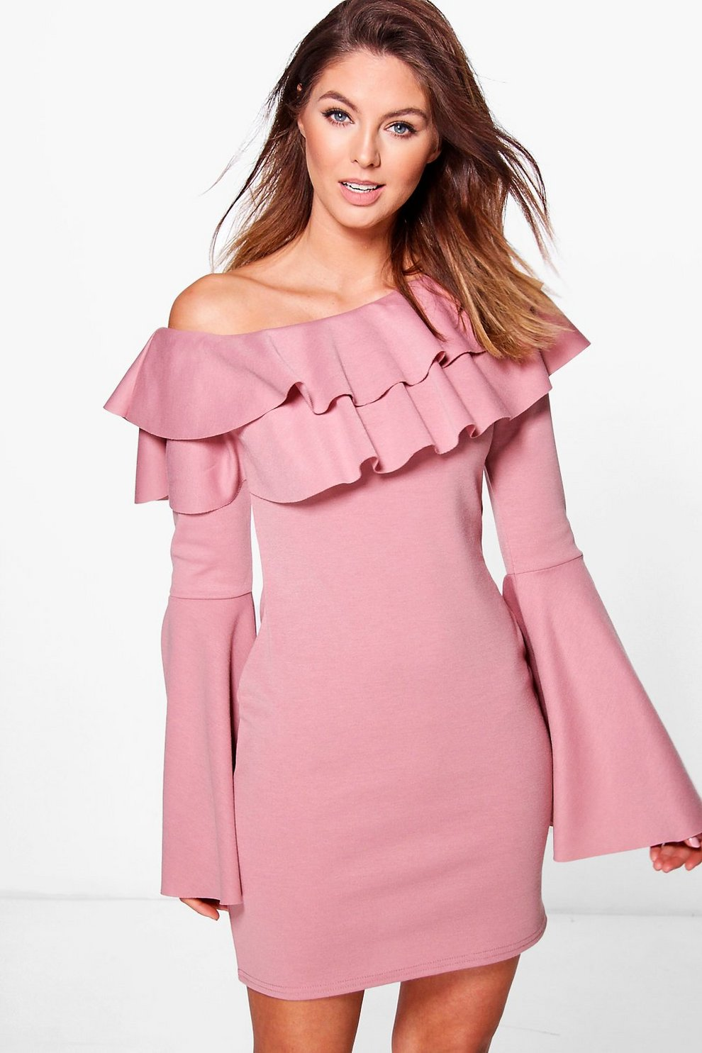 8936df7a8e56 Fran Off One Shoulder Frill Bodycon Dress | Boohoo