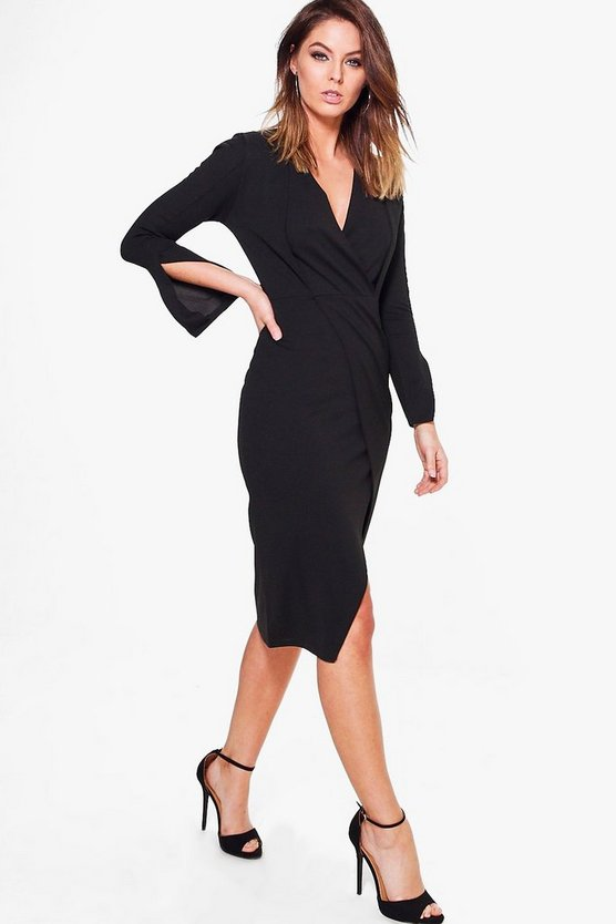 Fay Pleated Detail Slit Sleeve Fitted Midi Dress