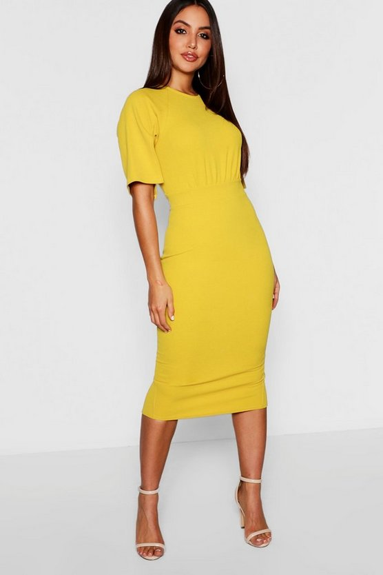 Womens Chartreuse Split Sleeve Detail Wiggle Midi Dress