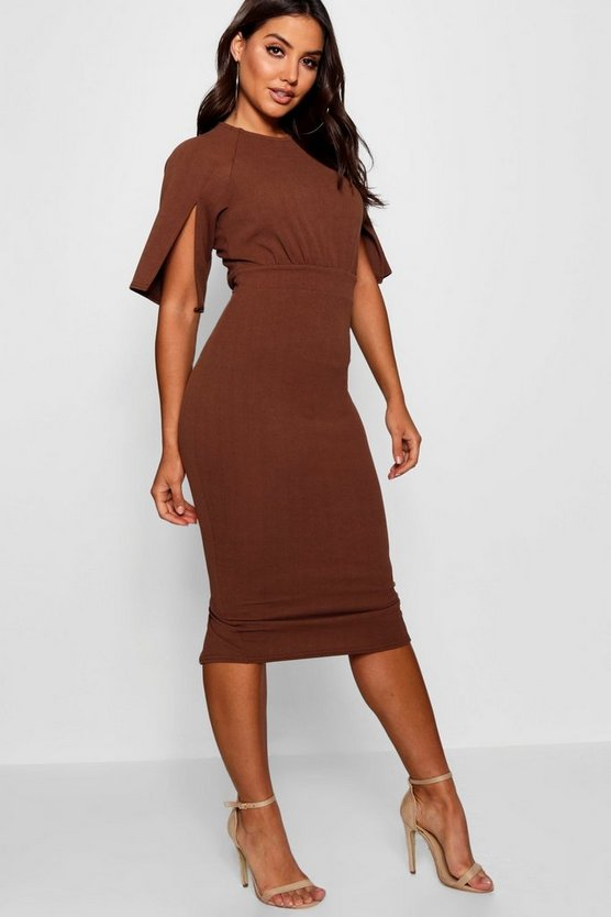 Womens Chocolate Split Sleeve Detail Wiggle Midi Dress