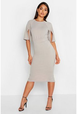 Womens Grey Split Sleeve Detail Wiggle Midi Dress