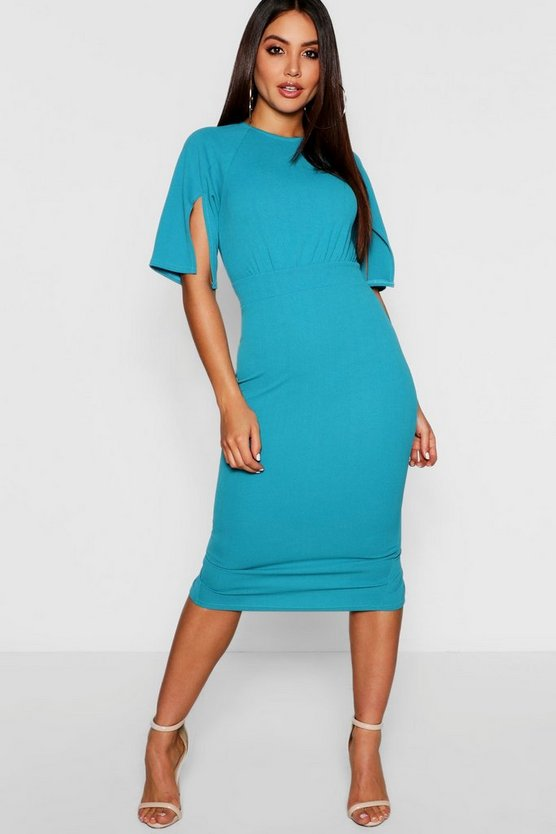 Jade blue Split Sleeve Detail Wiggle Midi Dress