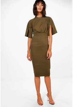 Khaki Split Sleeve Detail Wiggle Midi Dress
