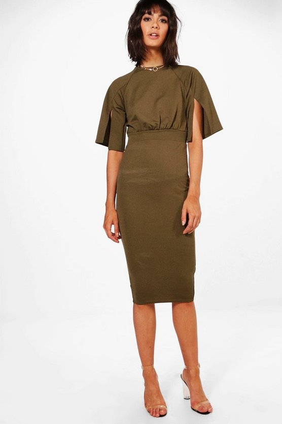 Womens Khaki Split Sleeve Detail Wiggle Midi Dress