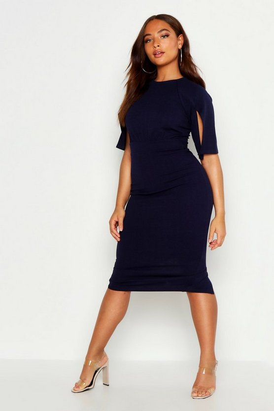Womens Navy Split Sleeve Detail Wiggle Midi Dress