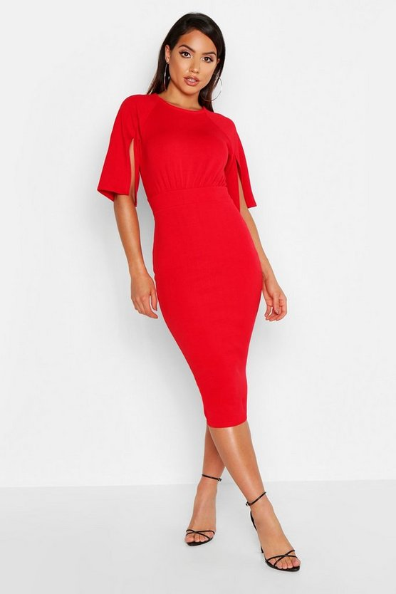 Womens Red Split Sleeve Detail Wiggle Midi Dress