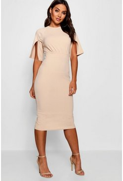 Womens Stone Split Sleeve Detail Wiggle Midi Dress