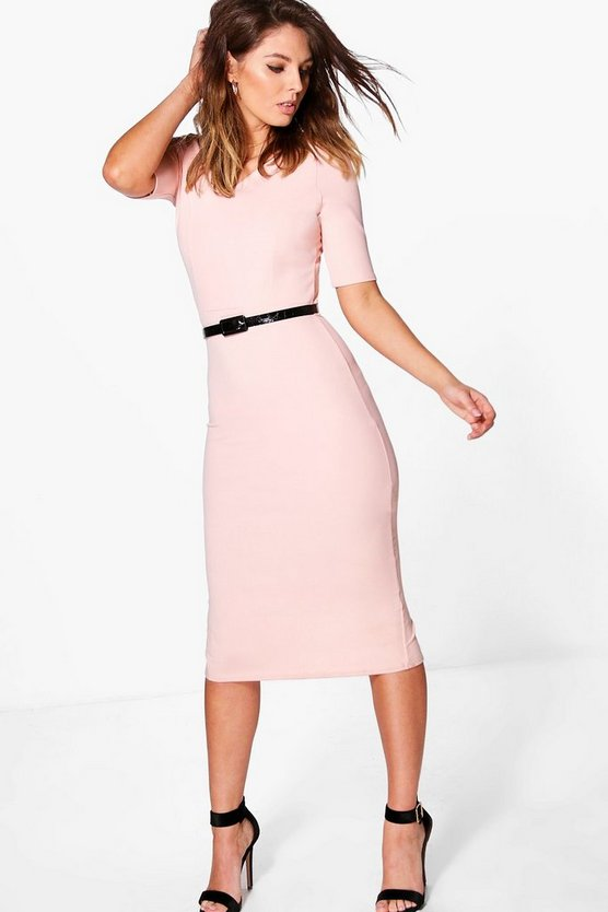 Bao Curve Neck Belt Detail Formal Midi Dress