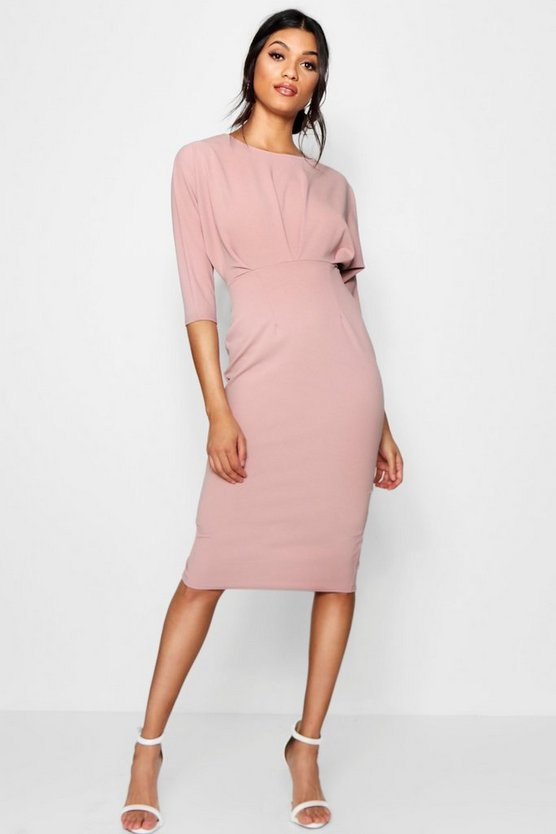 Pleat Detail Batwing Pencil Midi Dress