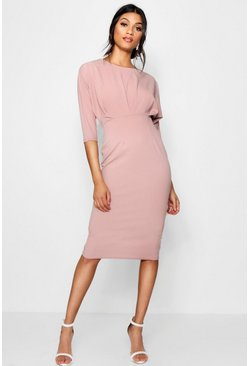 Womens Mink Pleat Detail Batwing Pencil Midi Dress