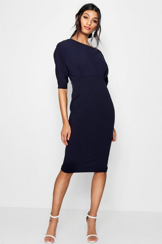 Womens Navy Pleat Detail Batwing Pencil Midi Dress
