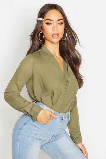 Womens Khaki Draped Long Sleeve Blouse