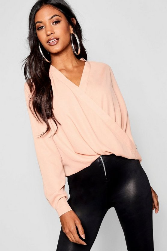 Draped Long Sleeve Blouse