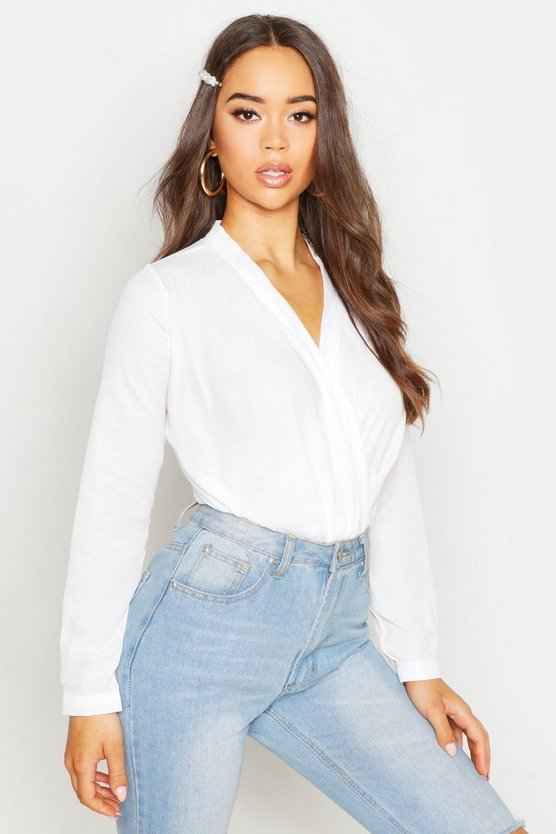 White Draped Long Sleeve Blouse