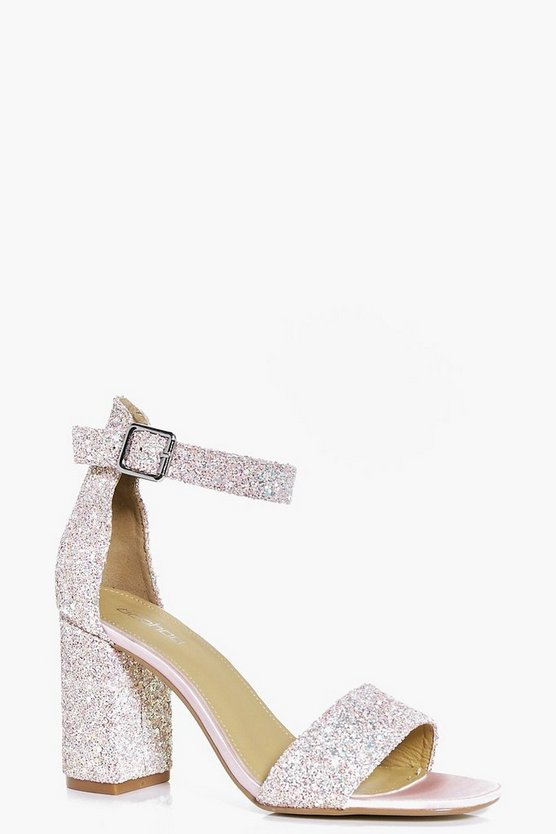 Lillie Bridal Glitter Block Heel Two Parts