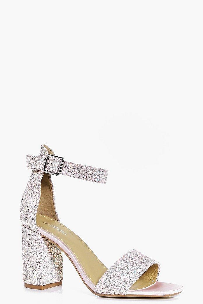 Lillie Bridal Glitter Block Heel Two Parts | boohoo Australia