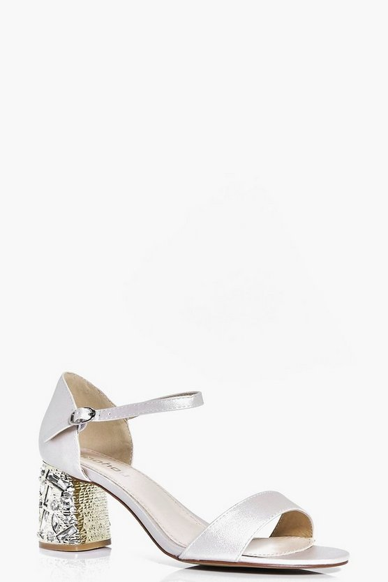 Lois Bridal Embellished Low Block Heel Peeptoe