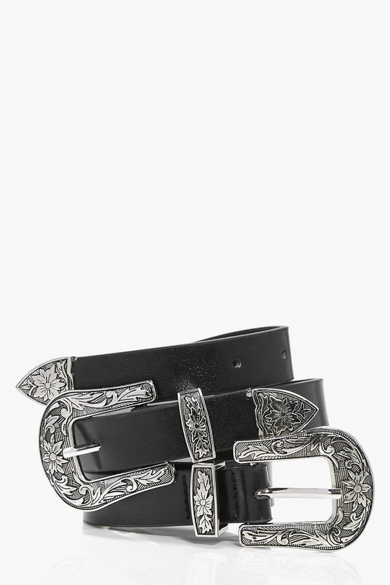 Floral Western Double Buckle Belt