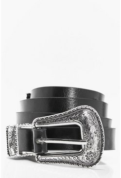 Black Slim Western Buckle Boyfriend Belt