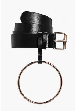 Womens Black Oversize Loop Detail Belt