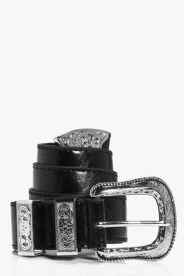 Womens Black Oversize Western Buckle Boyfriend Belt