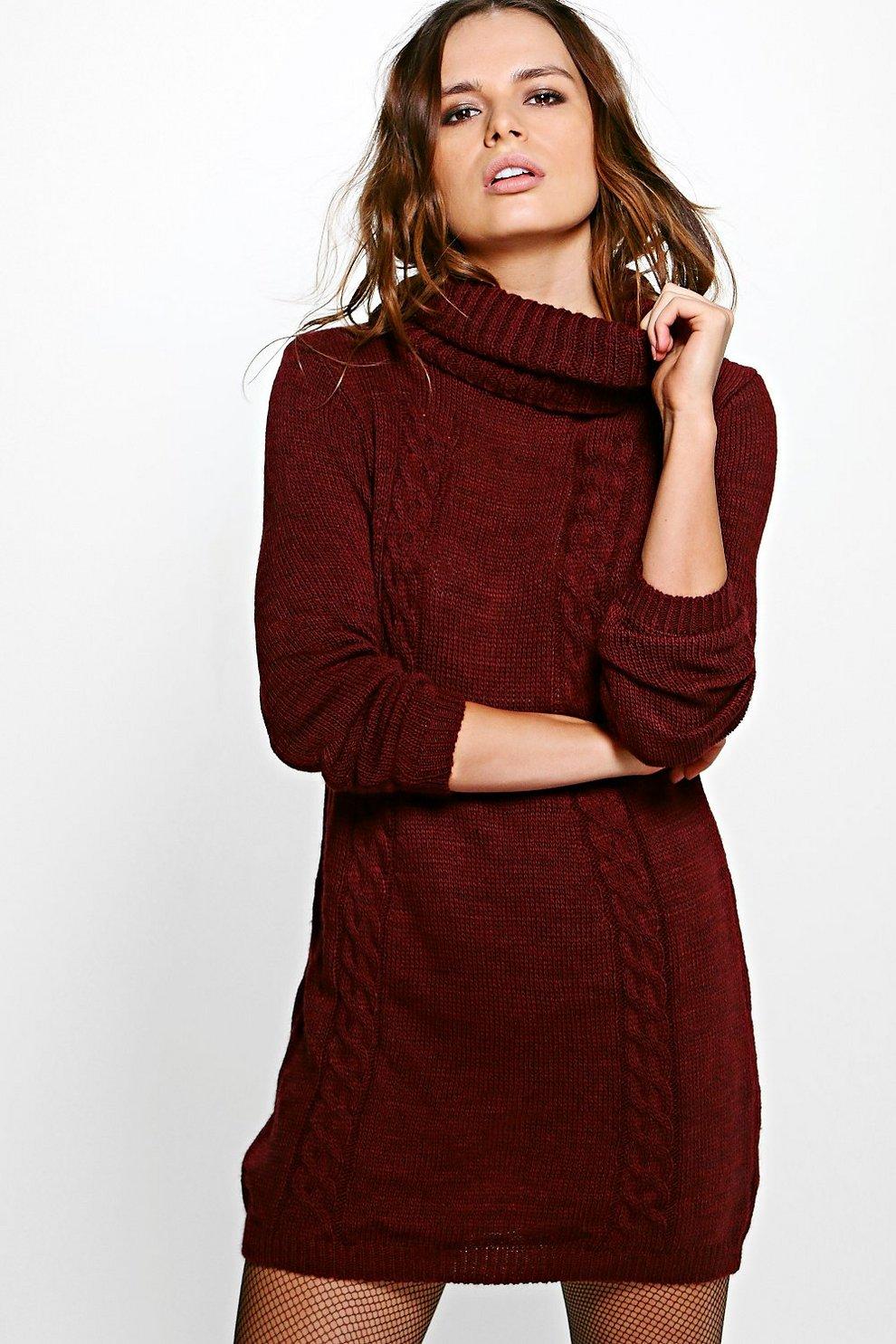 32dfc50ba6daf scarlett robe pull col roulé en tricot torsadé, Vin, Femme
