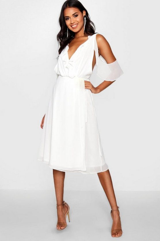 Rae Chiffon Frill Cold Shoulder Midi Dress