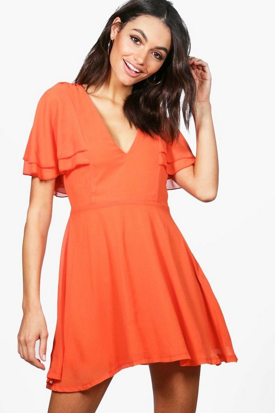 Melodie Chiffon Frill Sleeve Skater Dress