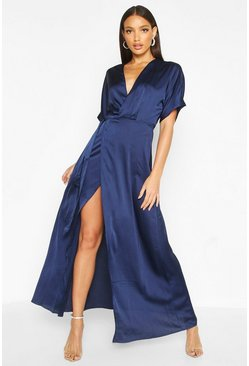 Womens Navy Boutique Satin Kimono Maxi Dress