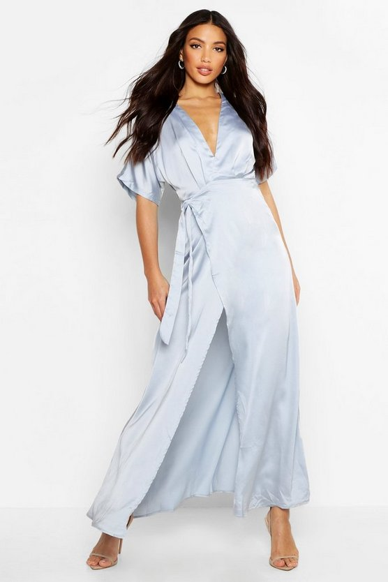 Boutique Satin Kimono Maxi Dress