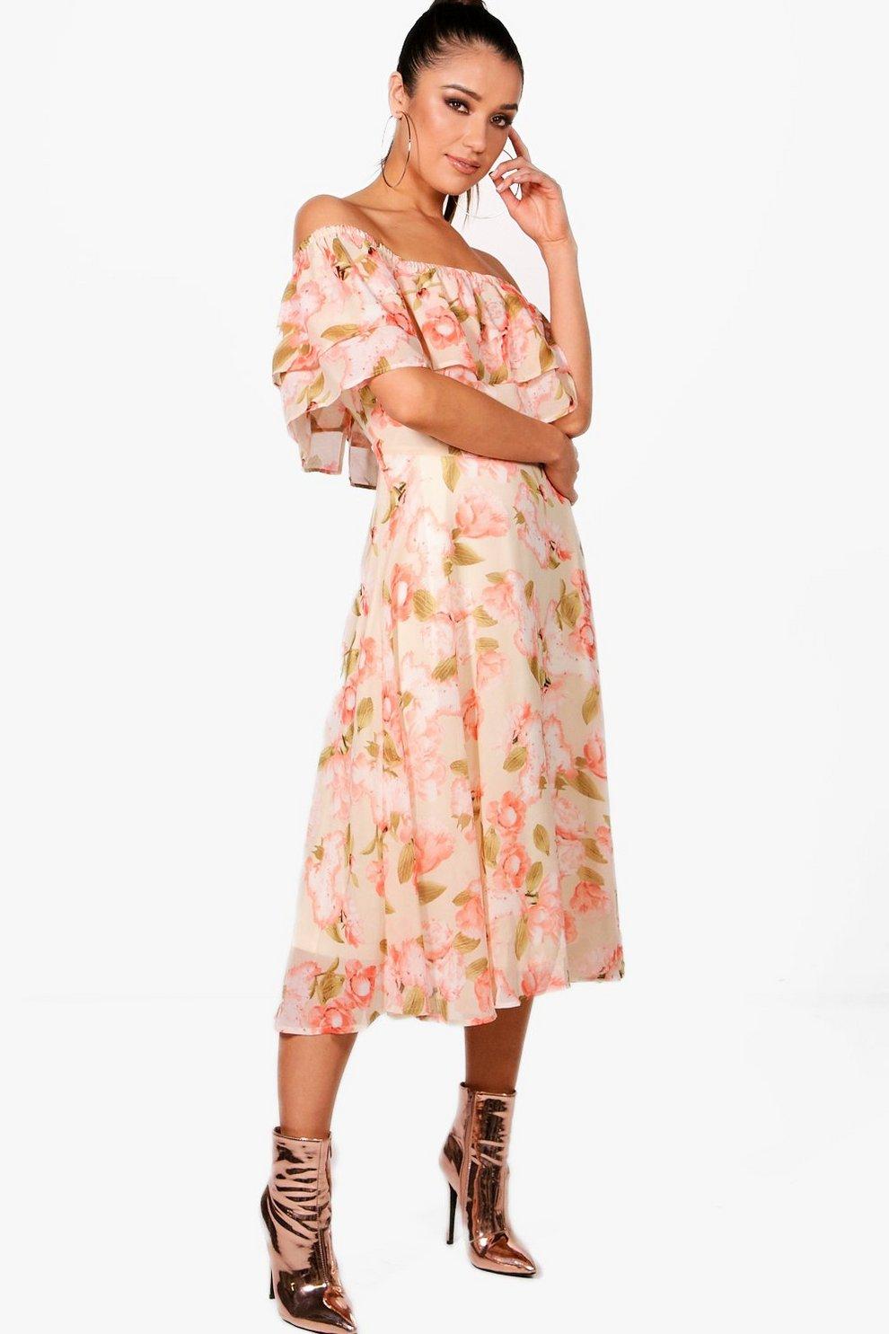 51a30ed4cf034 Chiffon Floral Midi Skater Dress | Boohoo