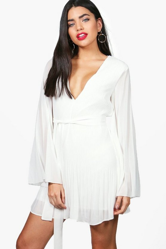 Kristen Pleated Flared Sleeves Skater Dress