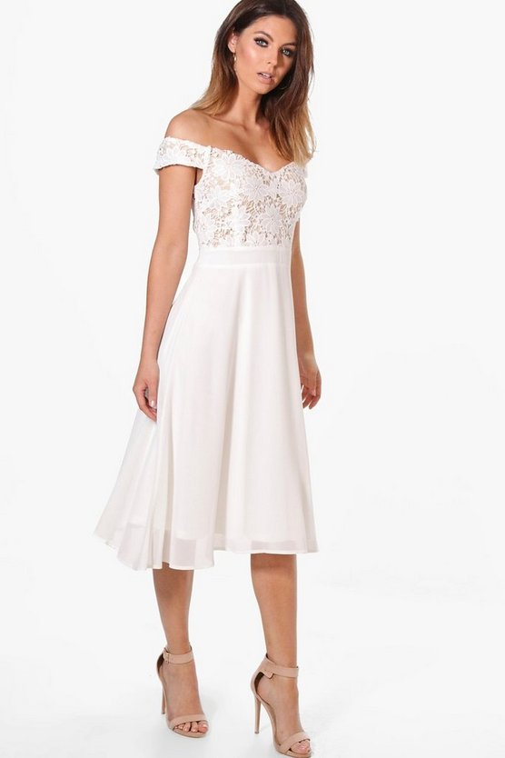 Womens Lace Chiffon Off Shoulder Midi Dress
