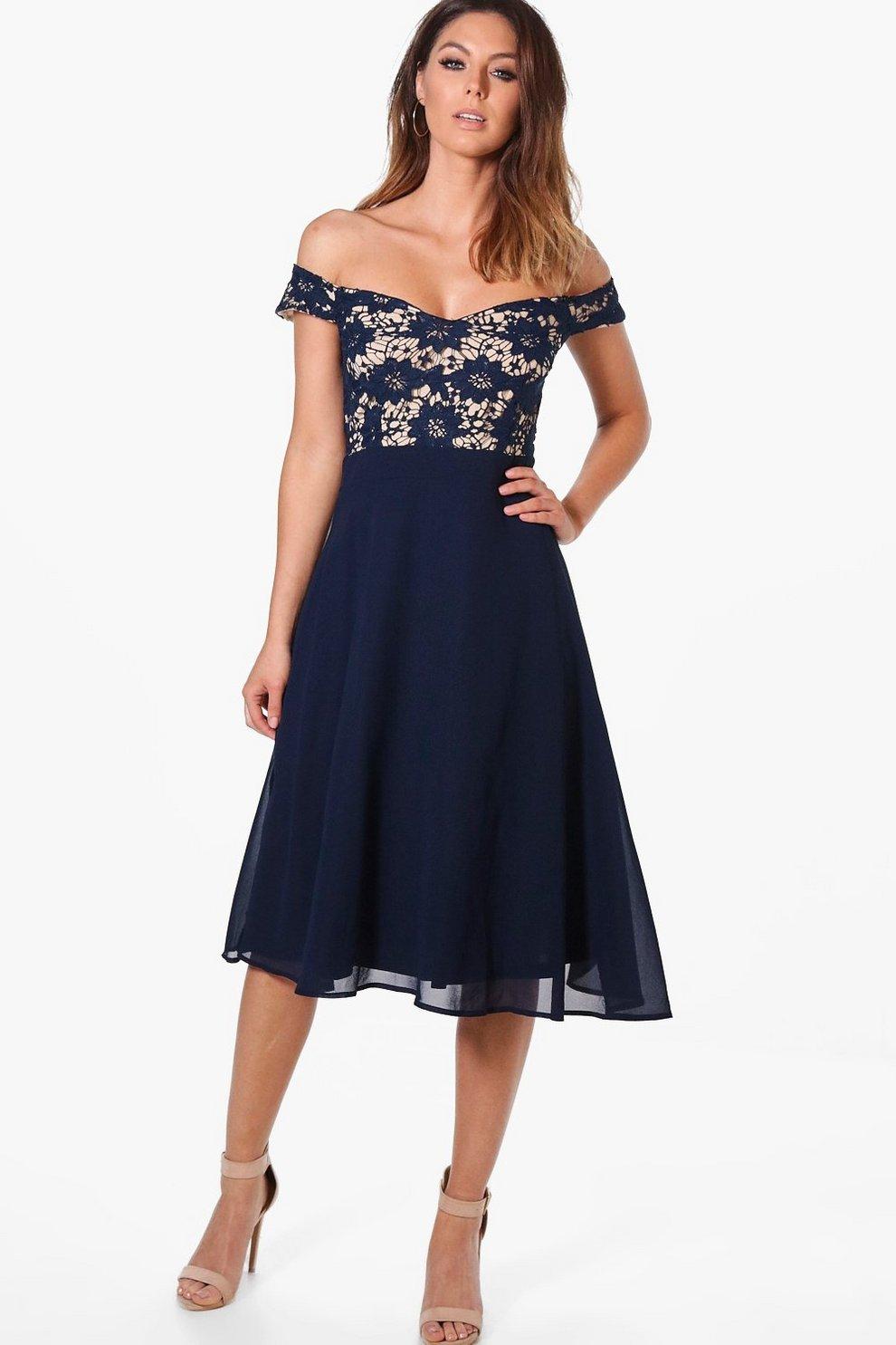 8996339c9aebc Lace Chiffon Off Shoulder Midi Dress | Boohoo