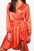 ... Boutique Alice Satin Wrap Skater Dress alternative image 0fa1f9949