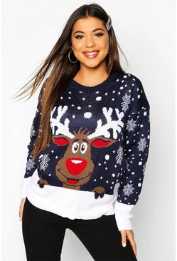 Womens Navy Reindeer Christmas Jumper