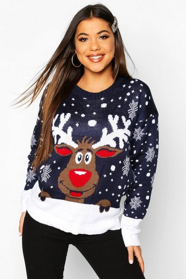 Womens Reindeer Christmas Jumper