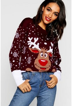 Wine Reindeer Christmas Jumper