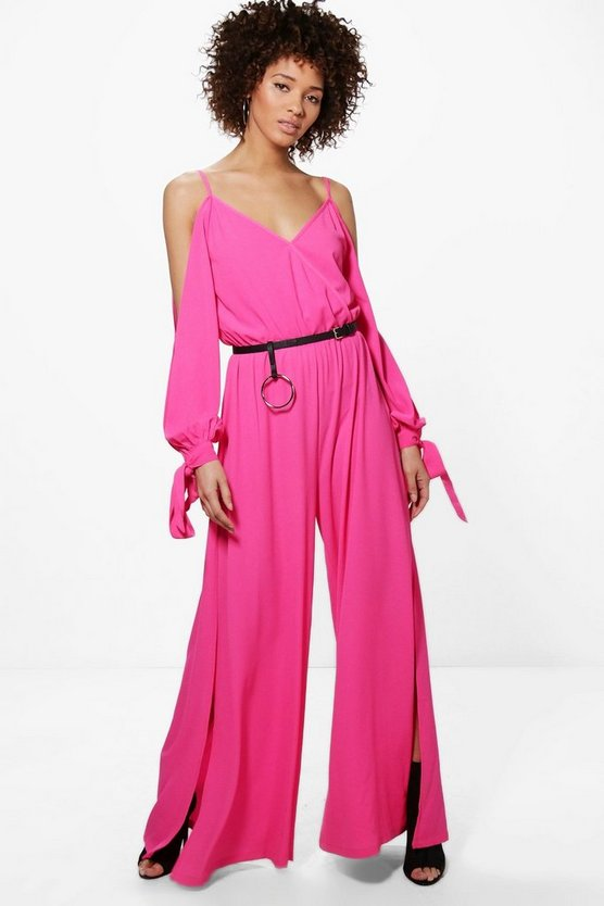 Laila Split Sleeve Wide Leg V Neck Jumpsuit