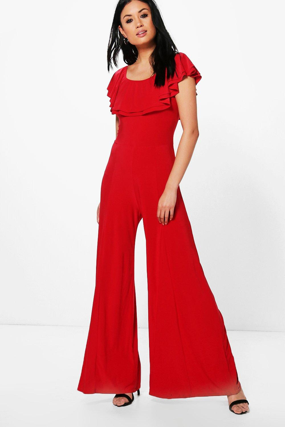 be90117d7d93 Amy Double Layer Off The Shoulder Wide Leg Jumpsuit. Hover to zoom