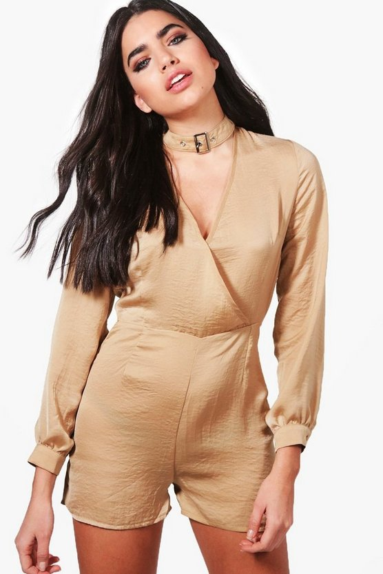Jen Wrap Front Buckle Choker Satin Playsuit