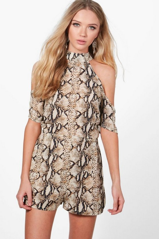 Aylin High Neck Cold Shoulder Snake Print Playsuit