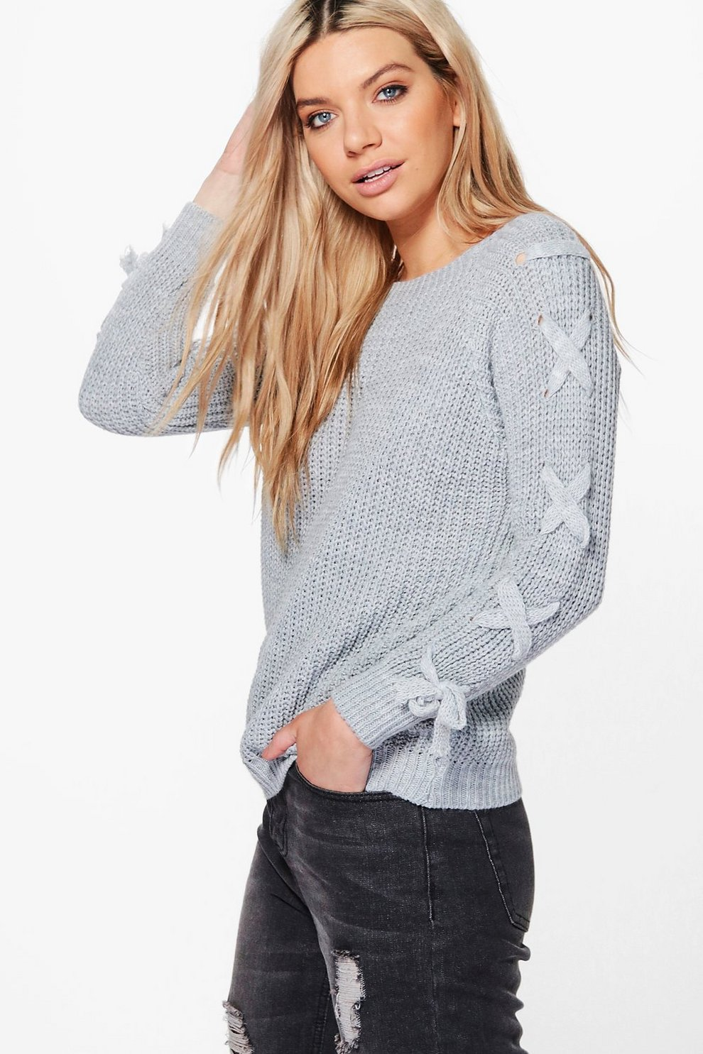 535bbd09ef Niamh Lace Up Sleeve Jumper