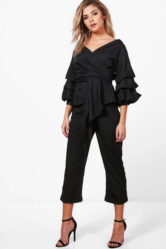 Amelia Frill & Tie Crop With Woven Trouser Co-Ord