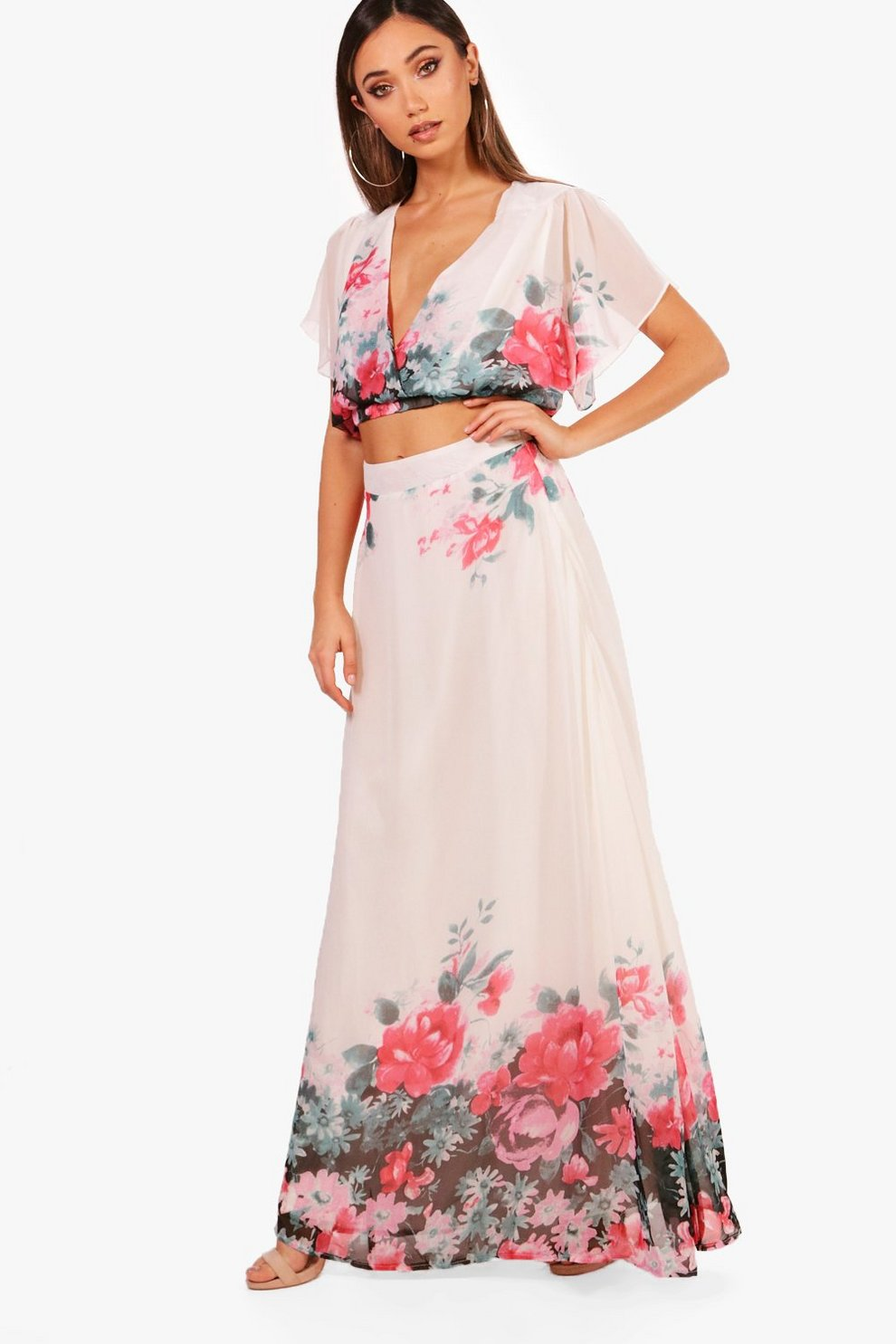 42820c009ac25 Woven Floral Tie Crop & Maxi Skirt Co-Ord   Boohoo