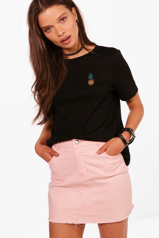 Womens Black Pineapple Embroidered T-Shirt