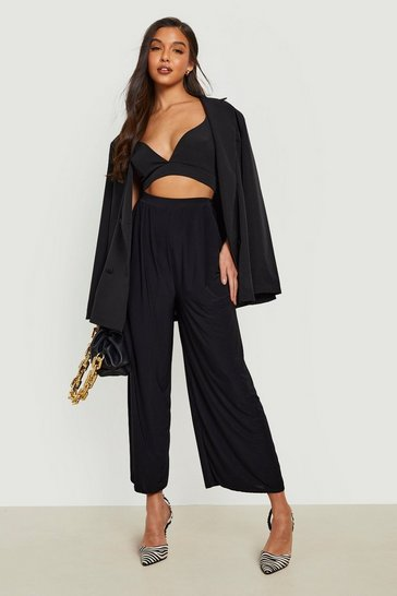 Womens Black Slinky Pleated Wide Leg Cropped Trousers