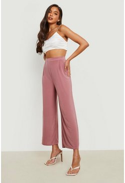 Mink Slinky Pleated Wide Leg Cropped Trousers