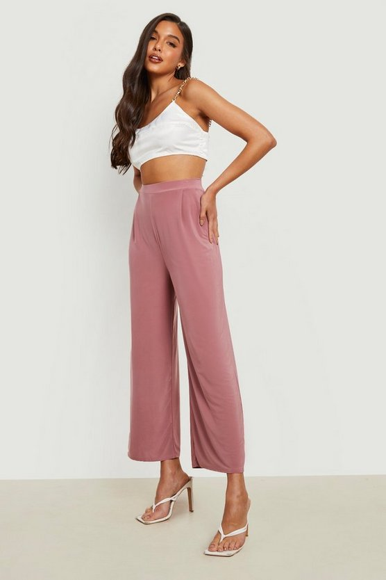 Slinky Pleated Wide Leg Cropped Trousers